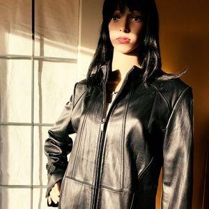 EUC Alfani Black Leather Jacket